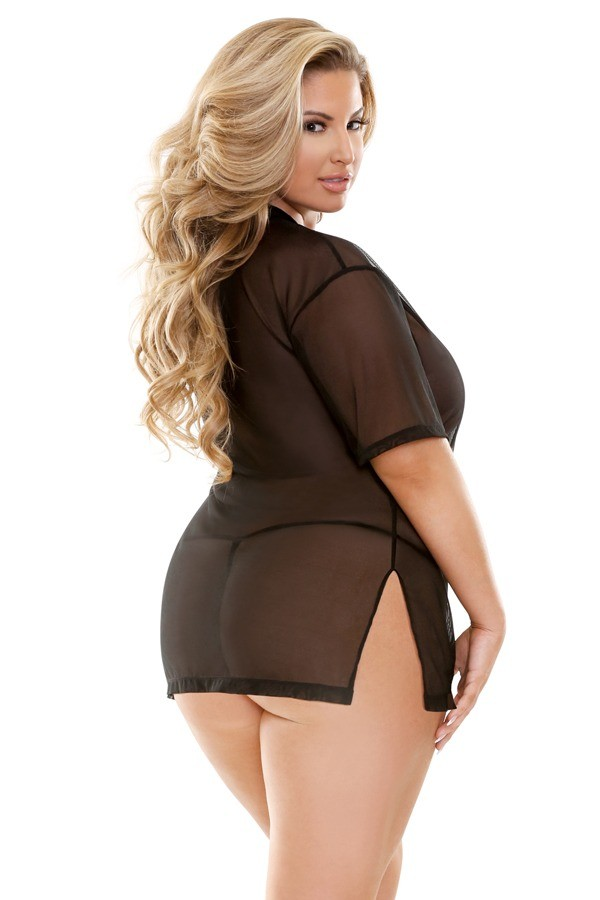Brandy Mesh V-neck Sleep Shirt G-string Curve P263