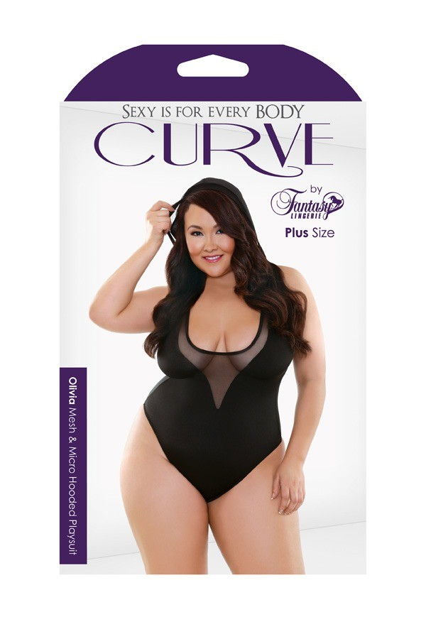 Olivia Mesh Micro Hooded Playsuit Curve P274