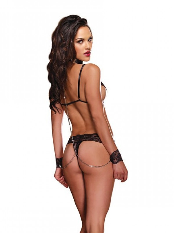 Dreamgirl 4253 Lace Bra Top and Thong with Wrist Restraints