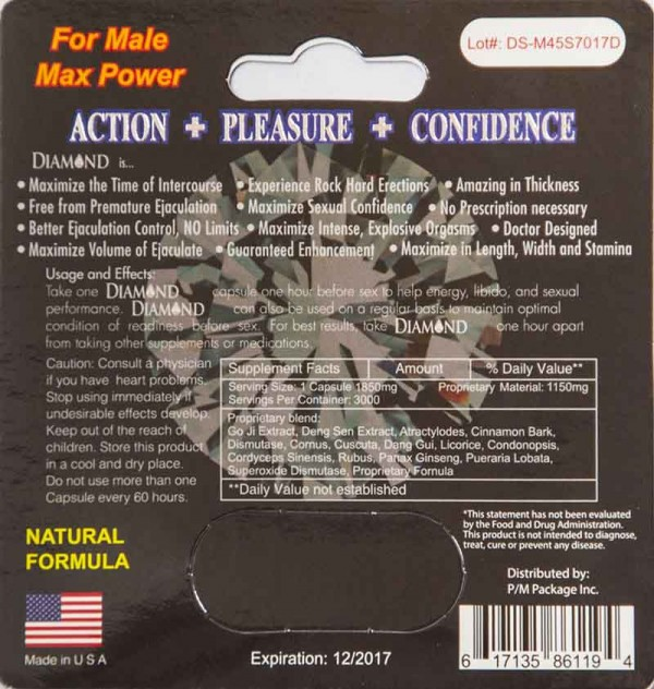Diamond Platinum Extreme 4500 Blue Male Enhancement Supplement by P/K Package Inc