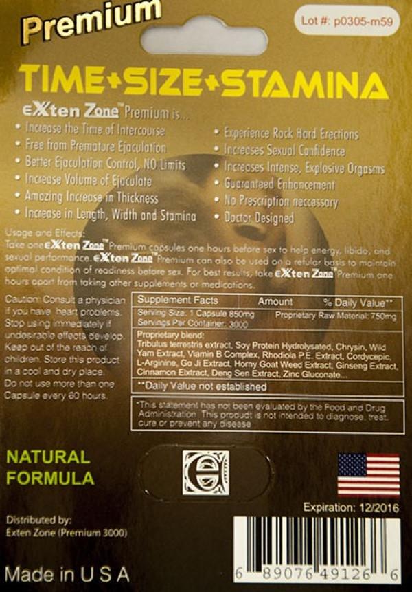 EXten Zone Premium 3000 Male Sexual Enhancer Long Lasting 5 Days by Exten Zone Ecstatic 3000