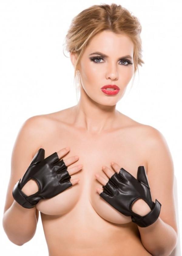 Faux Leather Fingerless Short Gloves G-4005
