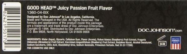 Doc Johnson Good Head Oral Delight Gel Juicty Passion Fruit 4 Oz (