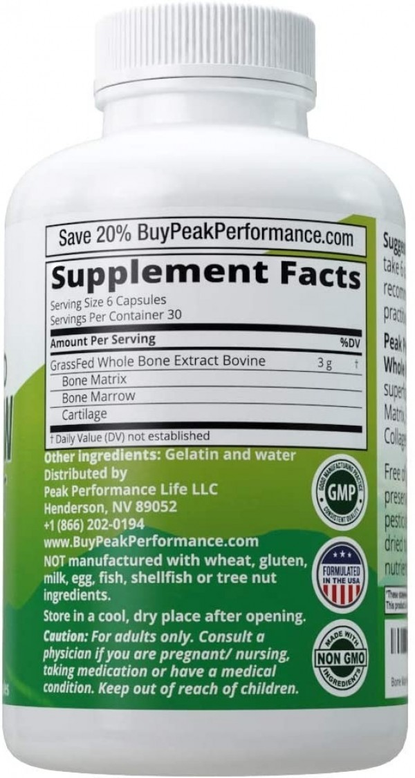 Grass Fed Bone Marrow Whole Bone Extract Supplement 180 Capsules by Peak Performance. Superfood Pills Rich in Collagen Vitamins Amino Acids