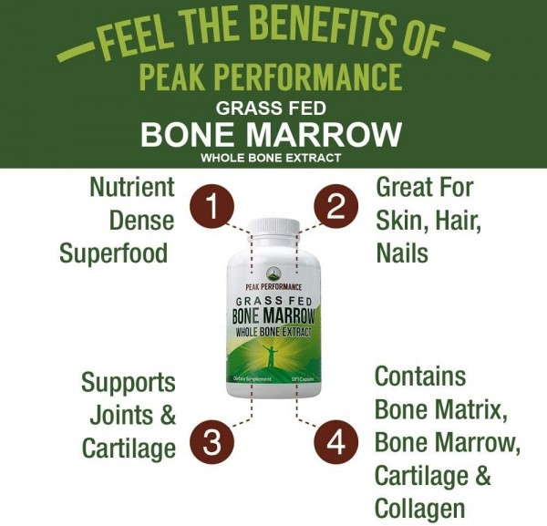 Grass-Fed Bone Marrow Whole Bone Extract Supplement 180 Pills by Peak Performance Superfood Pills Rich in Collagen Vitamins Amino Acids