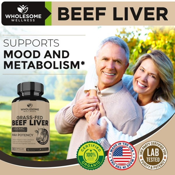 Grass Fed Desiccated Beef Liver Capsules 180 Pills 750mg Natural Iron Vitamin A B12