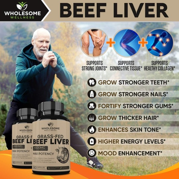 Grass Fed Desiccated Beef Liver Capsules 180 Pills