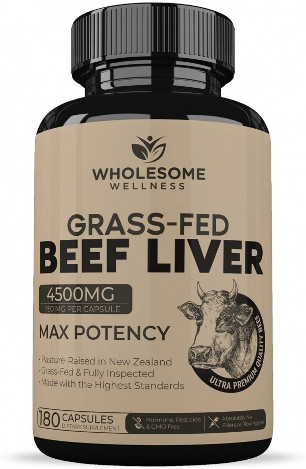 Grass Fed Desiccated Beef Liver Capsules 180 Pills 750mg Each Natural Iron Vitamin A B12