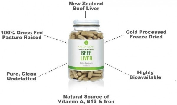 Grass Fed Pasture Raised Beef Liver Bottle 180 Pills