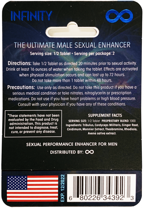 Blue Infinity The Ultimate Male Sexual Blue Pill back
