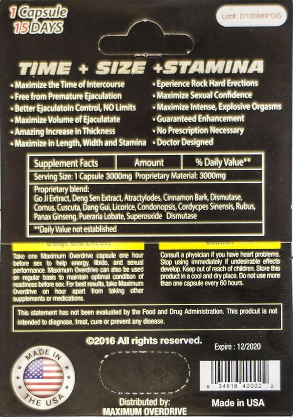 Maximum Overdrive Platinum 3000 Male Enhancer Pill