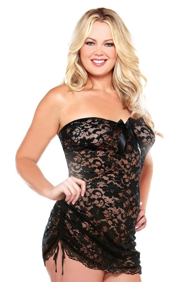 Strapless Lace Dress Adjustable Side Detail Matching Thong Curve P103