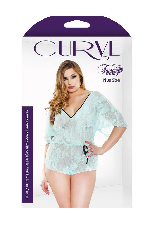 Stretch Lace Romper Adjustable Waist Snap Closure Curve P135