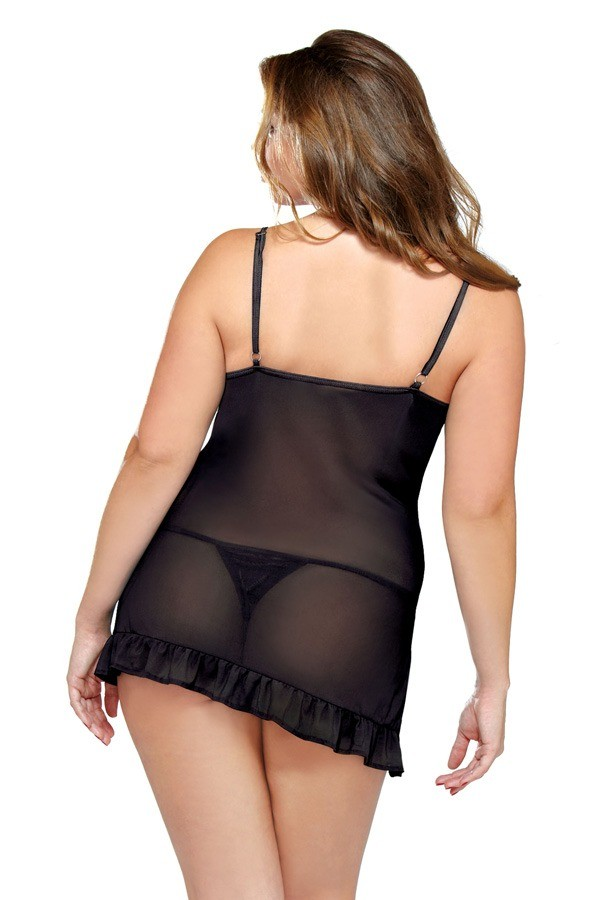 Underwire Chemise Matching Thong Curve P167