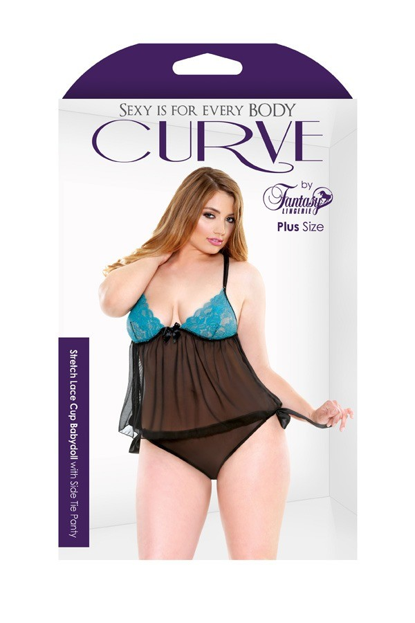 Stretch Lace Cup Babydoll Side Tie Panty Curve P175