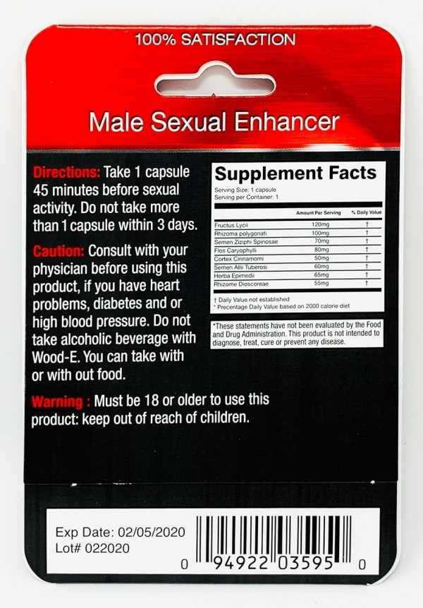 Platinum Wood-E 1250 Male Enhancement Pill