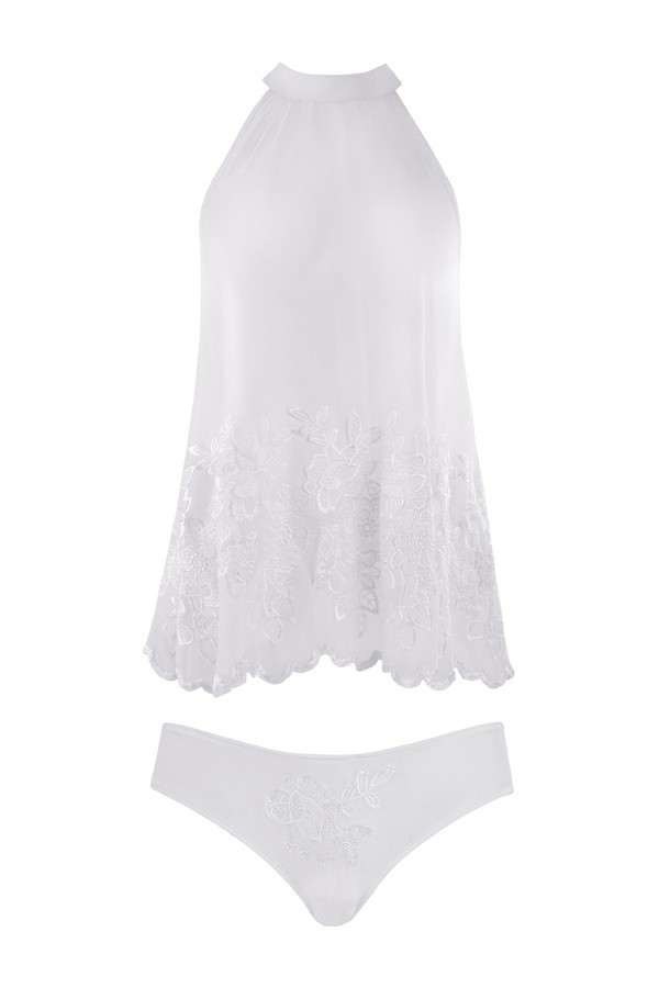 Elsie Embroidered Halter & Panty Fantasy Lingerie FL1601