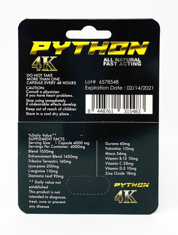 Python Black 4K Male Performance Supplement Pill