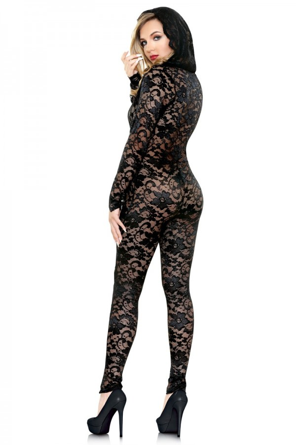Mia Lace Hooded Jumpsuit Romp R518