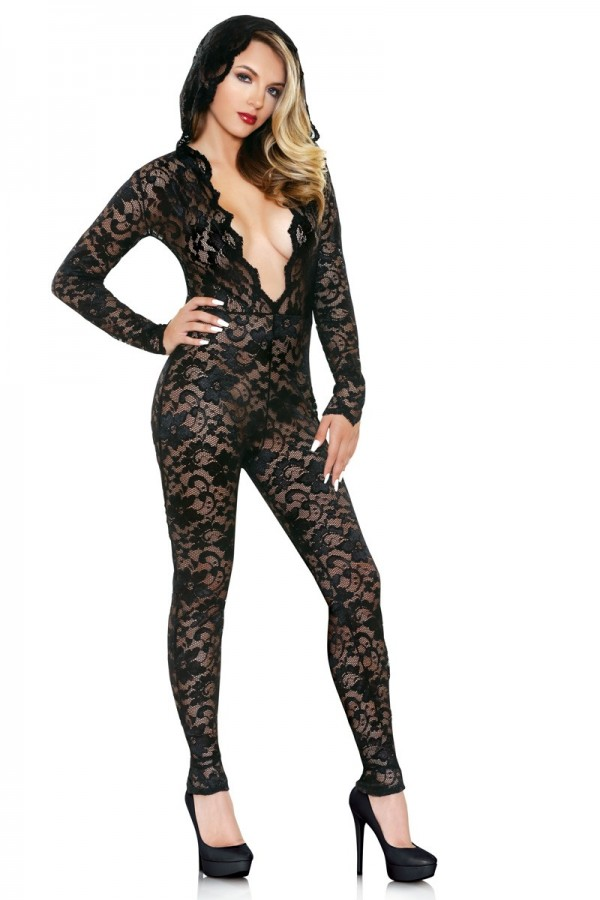 Mia Lace Hooded Jumpsuit Romp R518