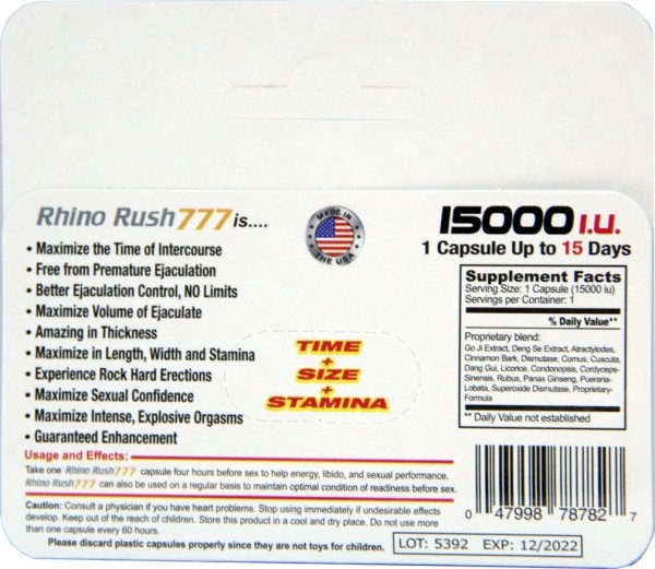 Rhino Rush 777 Gold 15000 Capsule back