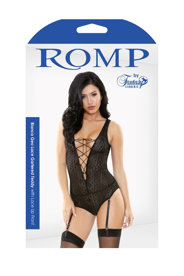Bianca Geo Lace Gartered Teddy Lace Up Front Romp R522