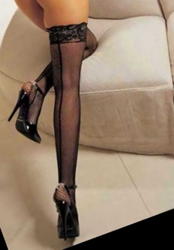 Shirley of Hollywood 90013 Fishnet Back Seam Lace Stay-Up Thigh High