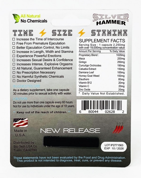 Silver Hammer 19000 Triple Maximum Power Male Enhancement
