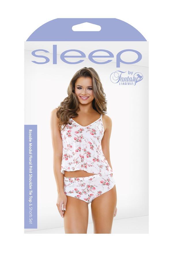 Rosalie Modal Floral Print Shoulder Tie Top Shorts Set Sleep S161