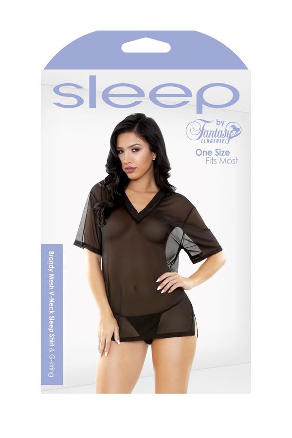 Brandy Mesh V-Neck Sleep Shirt G-string Sleep S163