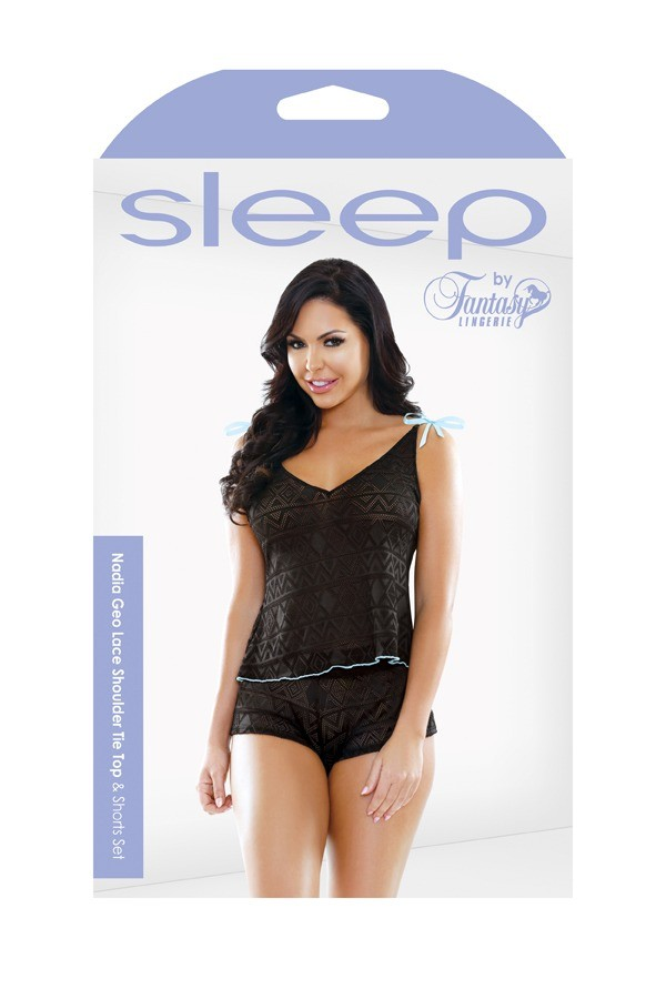 Nadia Geo Lace Shoulder Tie Top Shorts Set Sleep S164