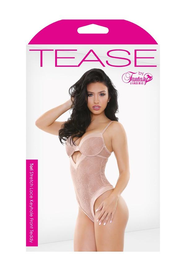Tori Stretch Lace Keyhole Front Teddy Tease B469