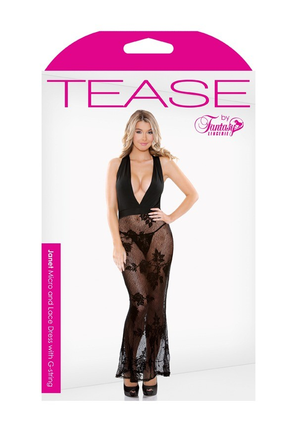 Janet Stretch Micro Lace Halter Dress G-string Tease B487