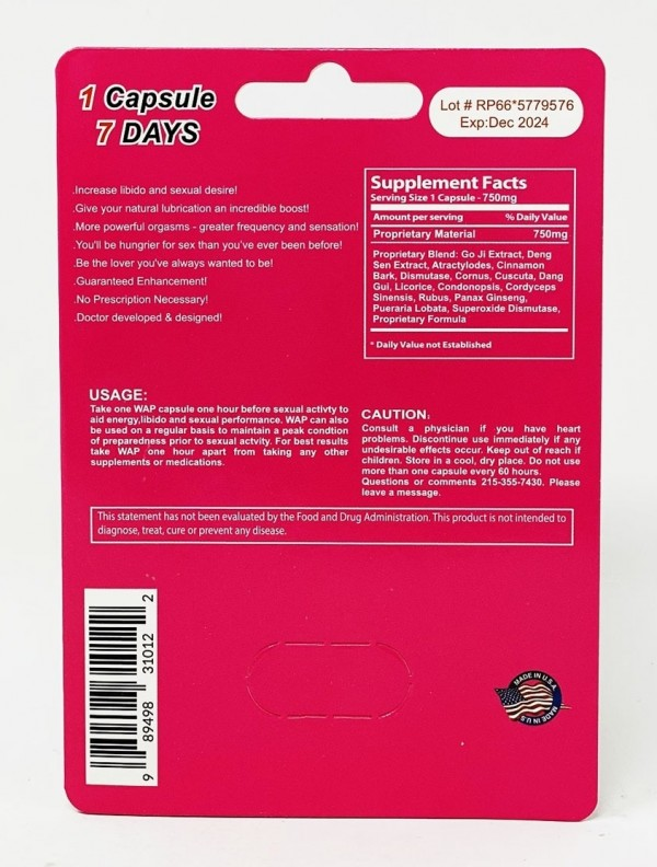 WAP 750mg Female Sensual Enhancement pill